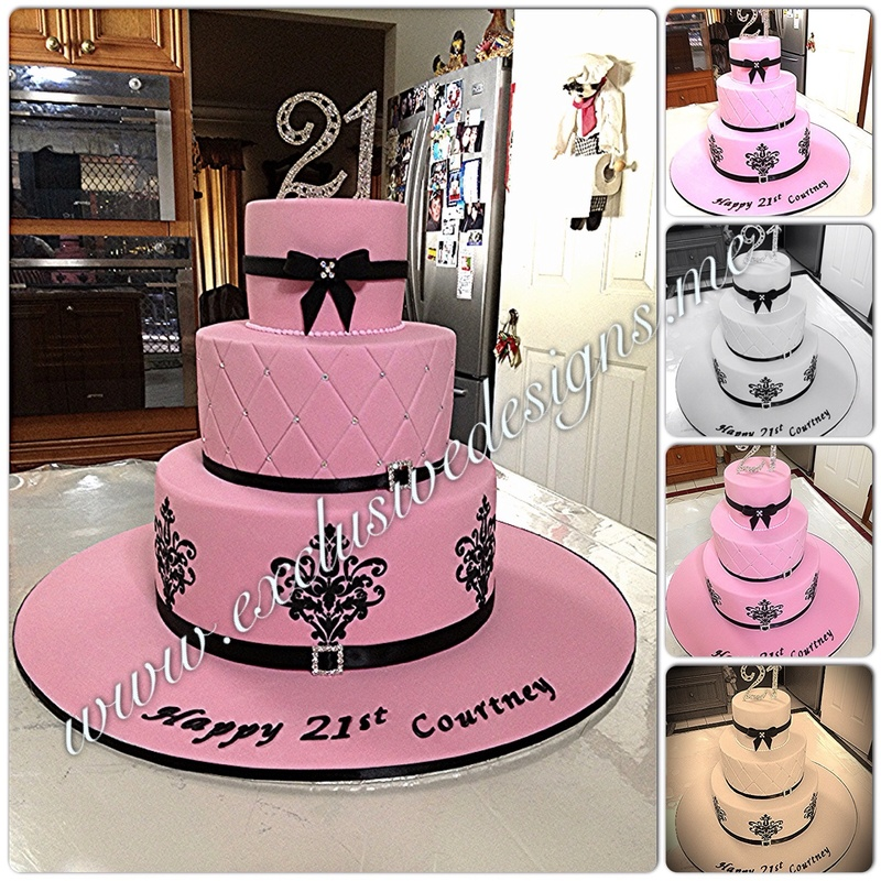 Pink 3 Tiered Fleur Di Lis Choc Mud Cake For Courneys 21st