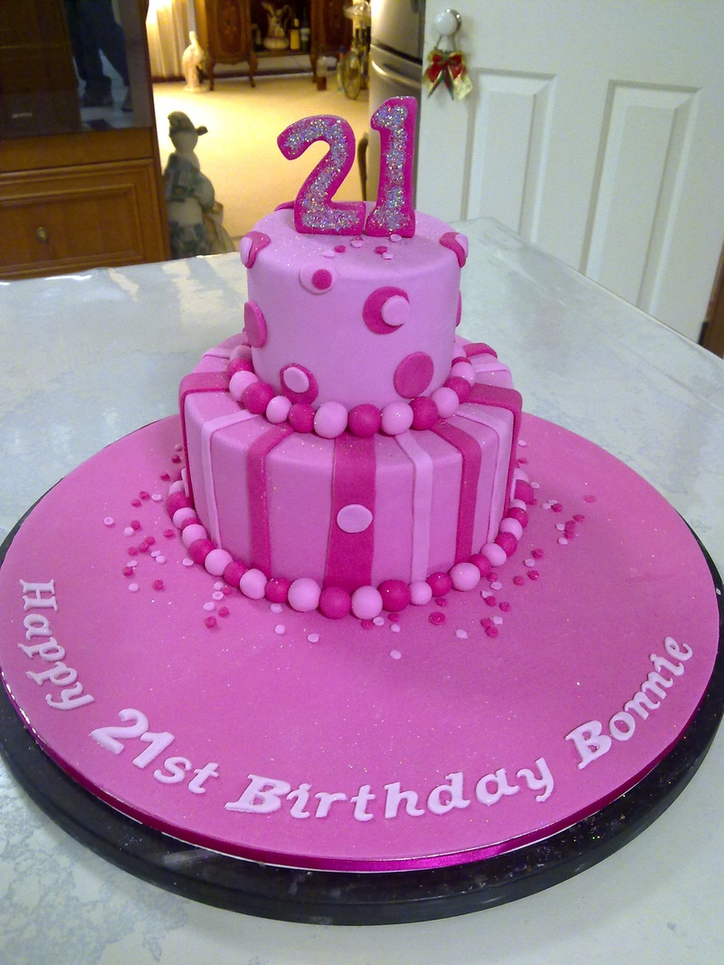 Tier Pink Birthday Cakes