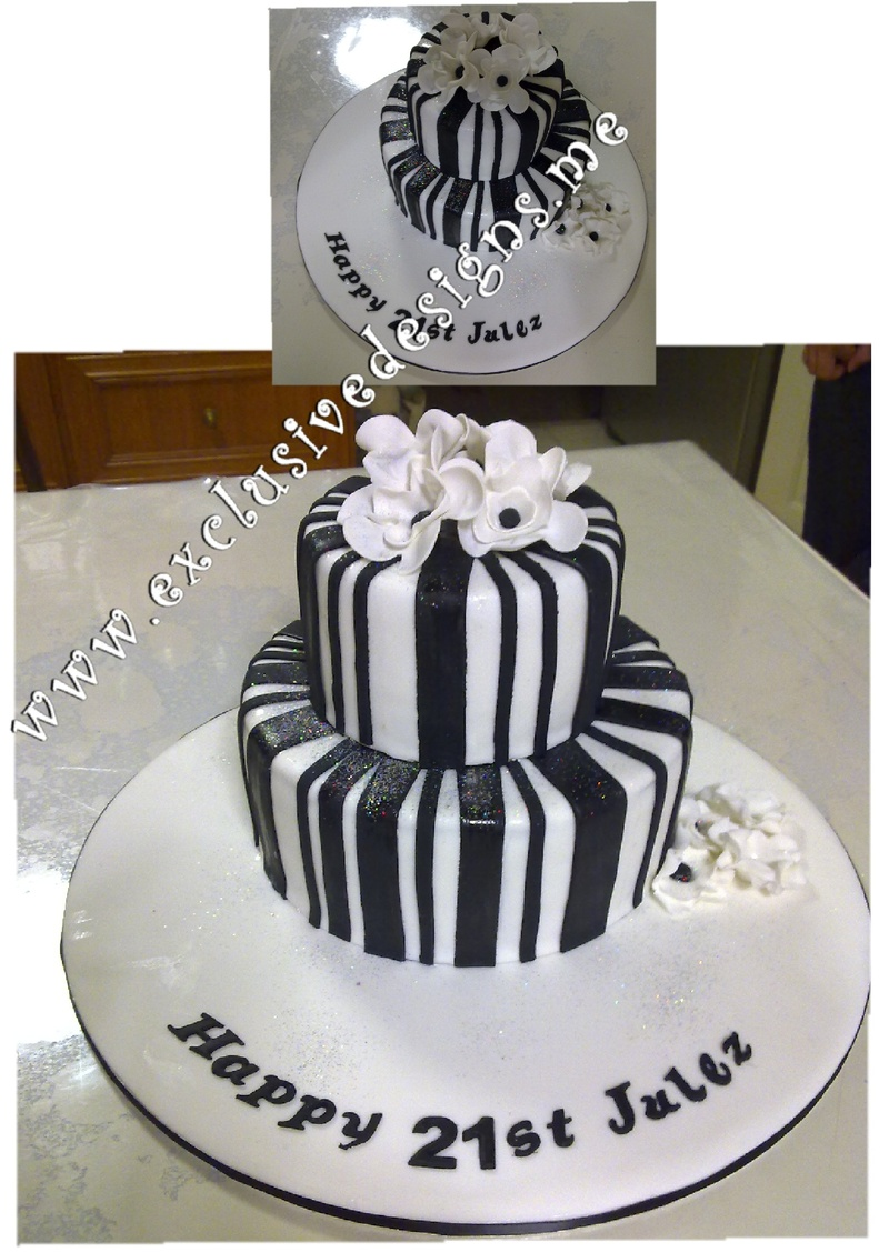Black And White Stripes Cakes With Gold